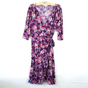 Kiyonna {Floral Wrap Dress Purple} 1X